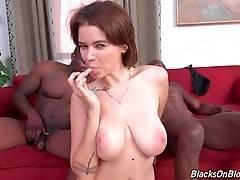 Marina Visconti gets her face all covered in black men cum.