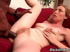 Naughty Tegan Riley deeply swallows black dude`s big shaft.