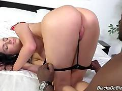 White sweetie can`t wait to get her pussy filled with black cock.