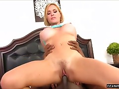 She sucks her pussy juice from his cock and then hops on for a ride both forward and backwards. He fucks her while she is on her back again, driving his hard cock balls deep into that sweet hole. He finishes up and blows his cum into her mouth